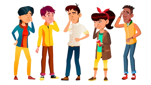 Vergognati adolescenti con gesto facepalm set