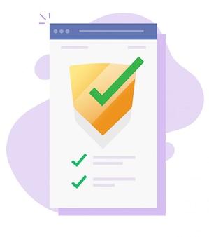 Verifica della sicurezza controlla la protezione dell'app mobile online per il software di protezione dagli attacchi di virus web su internet