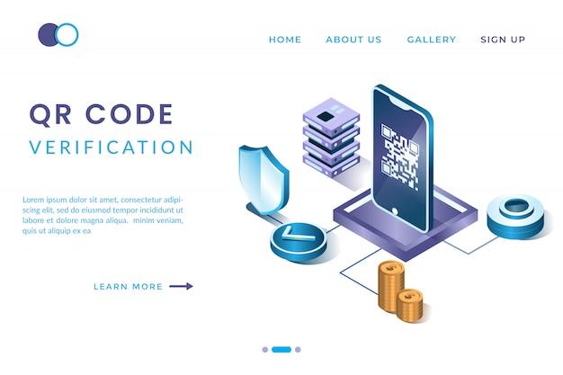 Verifica il codice qr utilizzando l'app su uno smartphone con il concetto di landing page isometriche e intestazioni web