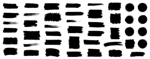 Vernice nera, pennello, pennellate, pennelli, linee, cornici, scatola, sgangherata. collezione di pennelli sgangherata. scatole di pittura del colpo della spazzola su fondo bianco