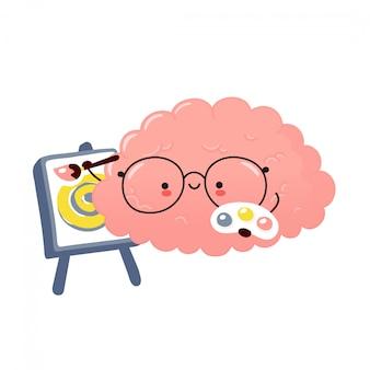 Vernice per organo cerebrale carina. disegno dell'autoadesivo dell'illustrazione del personaggio dei cartoni animati