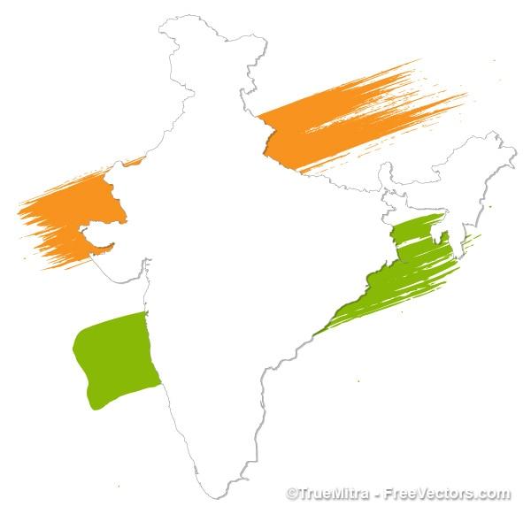 Verniciato bianco india mappa vettoriale