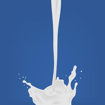 Versare il latte goccia di latte con splash. illustrazione realistica colorata su sfondo blu.