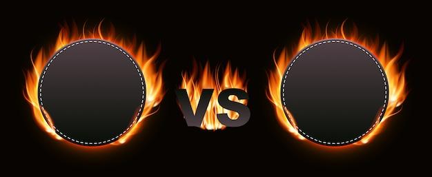 Versus screen with fire