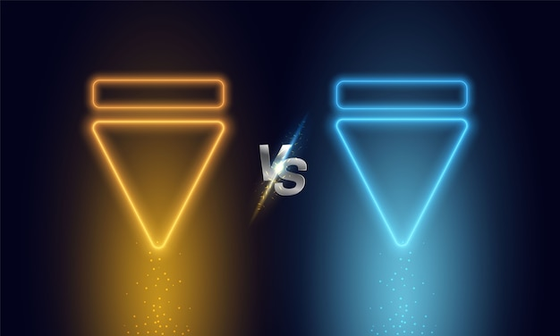 Versus triangle yellow blue neon light.