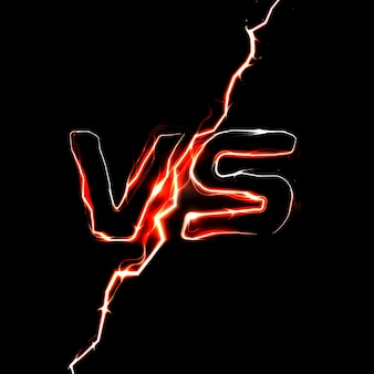 Versus vs logo. modello del titolo della battaglia. fulmine scintillante.