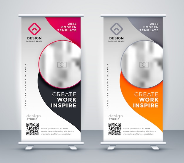 Verticale business banner design rollup