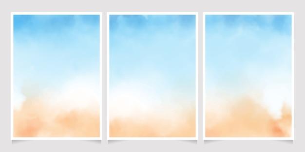 Verticale sciolto astratto del manifesto 5x7 dell'acquerello della spiaggia di sabbia e del blu