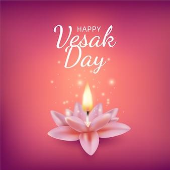 Vesak realistico con candela e fiore di loto