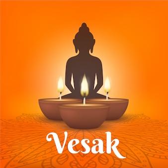 Vesak realistico con candele e buddha