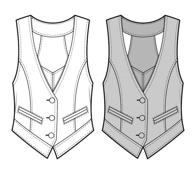 Vest fashion flat sketche template4