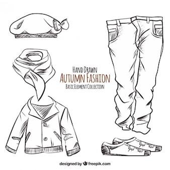 Vestiti di autunno disegnati a mano