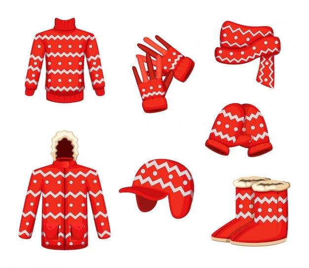 Vestiti in stile natalizio. illustrazioni vettoriali per la stagione invernale