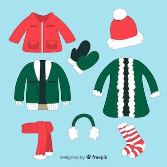 Vestiti invernali ed elementi essenziali disegnati a mano