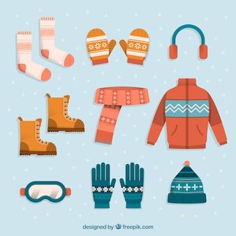 Vestiti invernali piatti e caldi