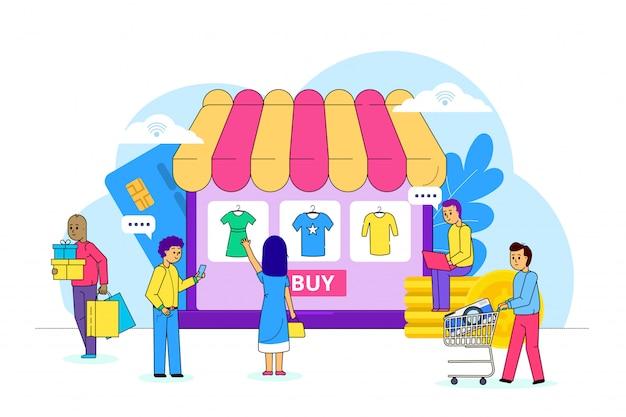 Vestiti online che comperano su internet, illustrazione. pagamento della vendita in rete, consumatore di mercato scegliere indumento. negozio di vestiti