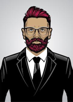 Vestito da portare uomo stile hipster barbuto