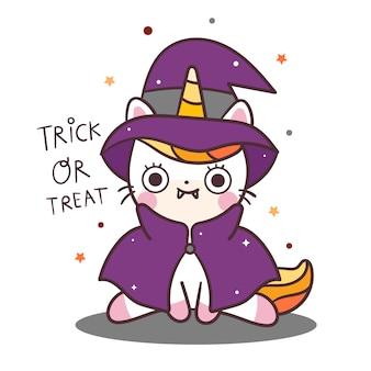 Vestito operato dalla strega del personaggio di halloween di vettore dell'unicorno del gatto sveglio