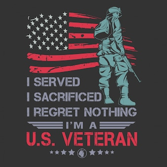 Veterani design independence day cita tipografia vettoriale