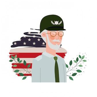 Veterano vecchio guerra con bandiera degli stati uniti