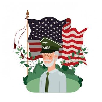 Veterano vecchio guerra con paesaggio e bandiera degli stati uniti