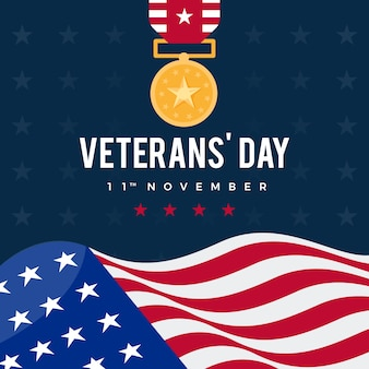 Veterans day design piatto sfondo