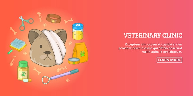 Veterinario clinica banner orizzontale uomo, stile cartoon