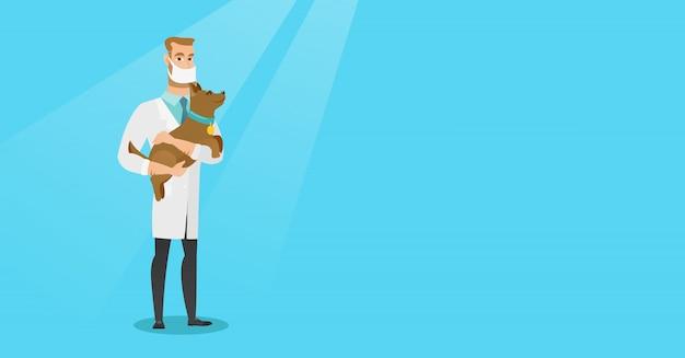 Veterinario con cane in mani illustrazione vettoriale