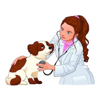 Veterinario con il cane divertente fumetto e illustrazione vettoriale caratteri isolati