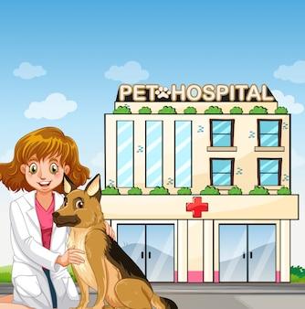 Veterinario e cane all'ospedale per animali