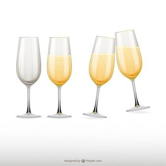 Vetri di champagne illustrazioni