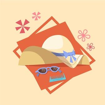Vetri di estate e festa dell'estate del concetto di vacanza del mare dell'icona del cappello di paglia dell'estate