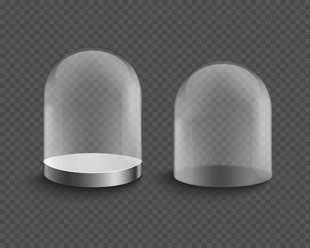 Vetrina del cilindro di vetro trasparente vuota