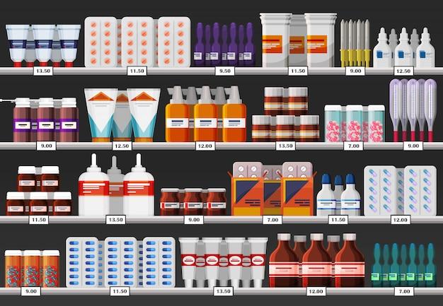 Vetrina farmacia o scaffale farmacia con farmaci