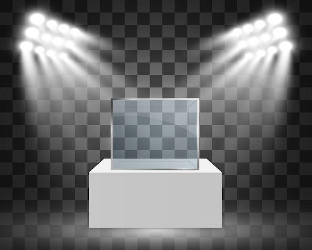 Vetrina in vetro per la mostra a forma di cubo. sfondo in vendita illuminato da faretti. pubblicità della scatola di vetro del museo o boutique aziendale. sala espositiva.