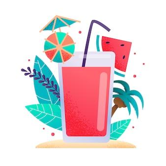 Vetro con il fumetto di promozione di succo di frutta fresco o limonata