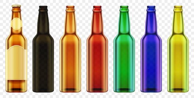 Vetro di colore della bottiglia da birra di vettore isolato. imballaggio con set di bottiglie realistiche.