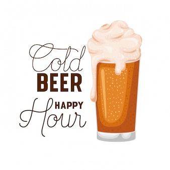 Vetro di etichetta happy hour birra fredda