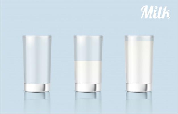 Vetro di latte realistico 3d per prodotti alimentari e bevande