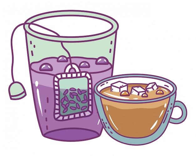 Vetro di tè e tazza di caffè isolati