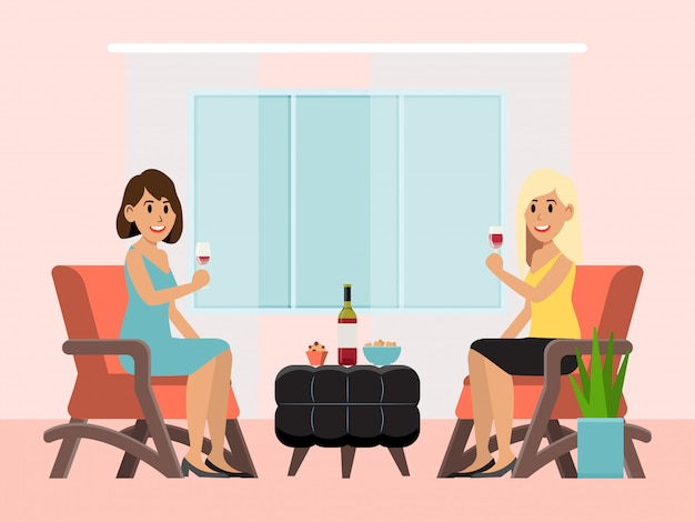 Vetro di vino della tenuta del carattere della donna, illustrazione amichevole dell'alcool della bevanda di conversazione di conversazione di seduta femminile del ristorante.