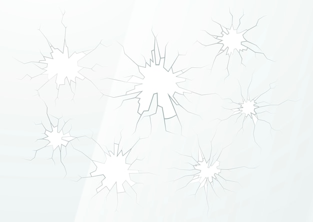 Vetro rotto con diverse crepe su sfondo chiaro
