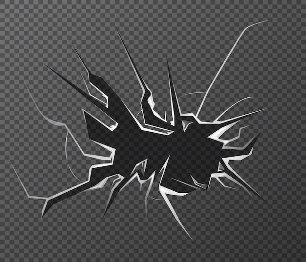Vetro rotto. effetto vetro incrinato isolato.