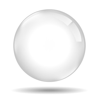 Vetro trasparente. perla bianca, bolla di sapone d'acqua, sfera lucida lucida elementi di design realistico