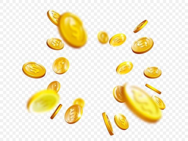 Vettore 3d delle monete del poker del casinò di vittoria di jackpot di bingo della spruzzata della moneta d'oro