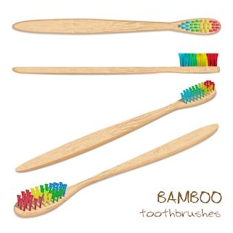 Vettore 5 di spazzolini da denti di bambù