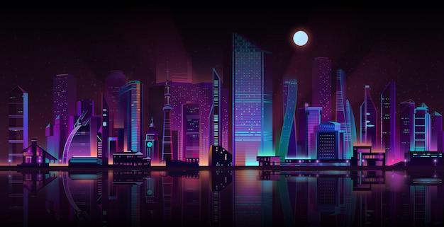 Vettore al neon del fumetto del paesaggio di notte della metropoli