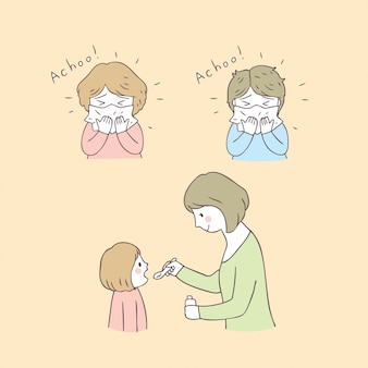 Vettore ammalato della mamma e della ragazza sveglia del fumetto.