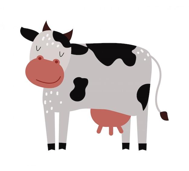 Vettore animale del mammifero del fumetto dell'azienda agricola divertente della mucca.