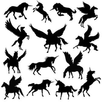 Vettore animale della siluetta di clipart di pegasus unicorn